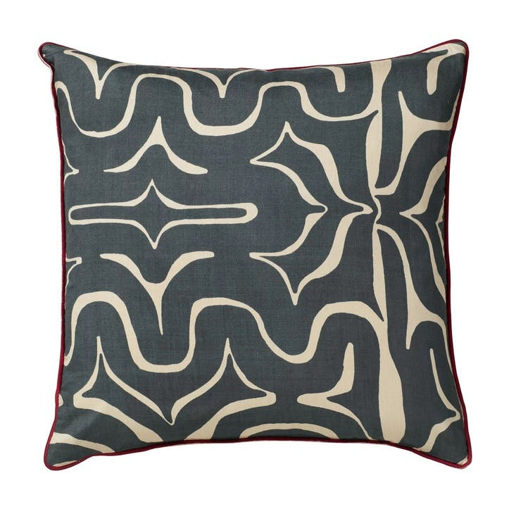 Kawa Maze Silk Cushion Cover, Jet