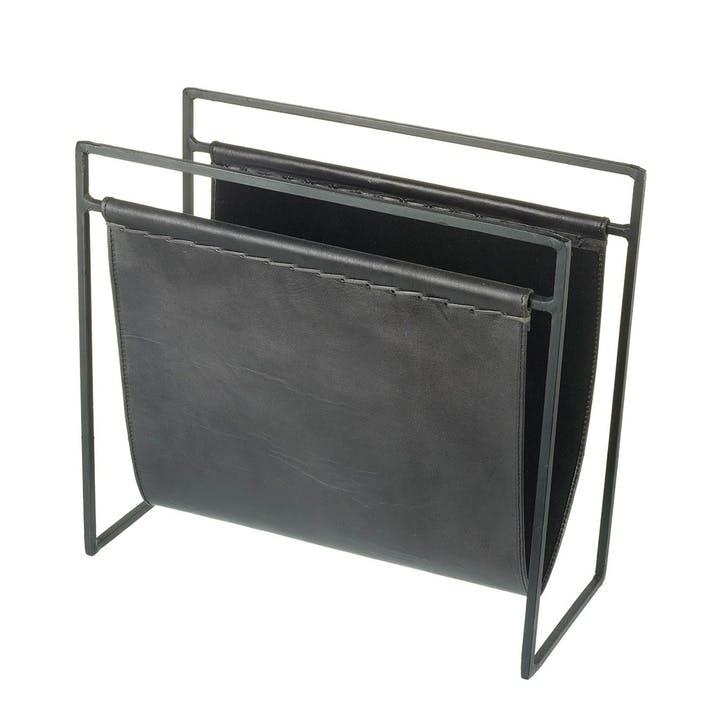 Leather Magazine Rack, Black