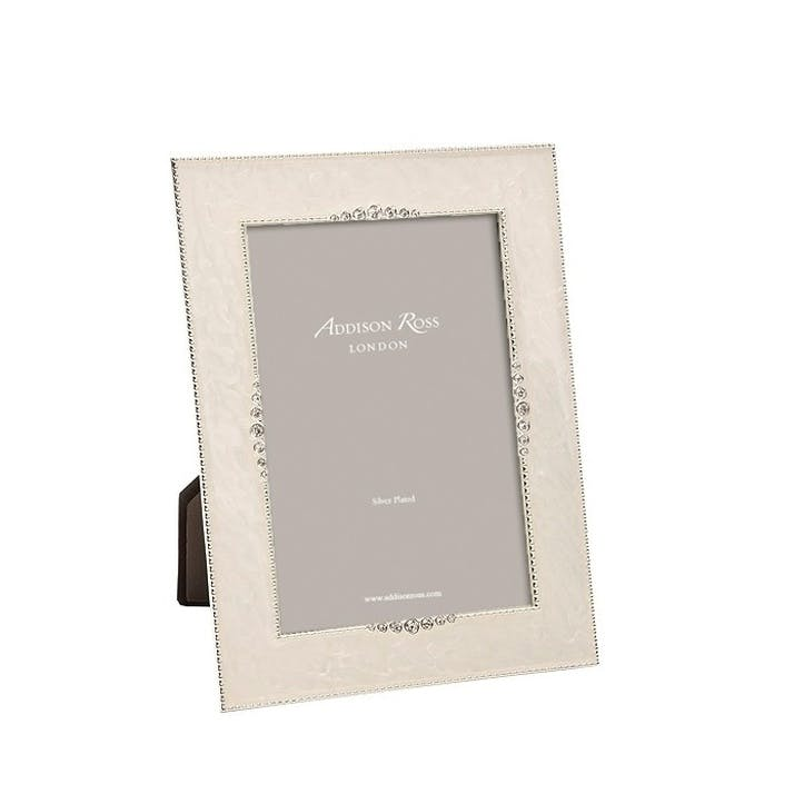 "Starburst Enamel Photo Frame - 4""x6""; Cream"