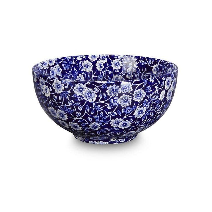 Calico Footed Bowl, Small, Blue