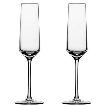 Pair of champagne flutes, 21cl, Schott Crystal, Pure