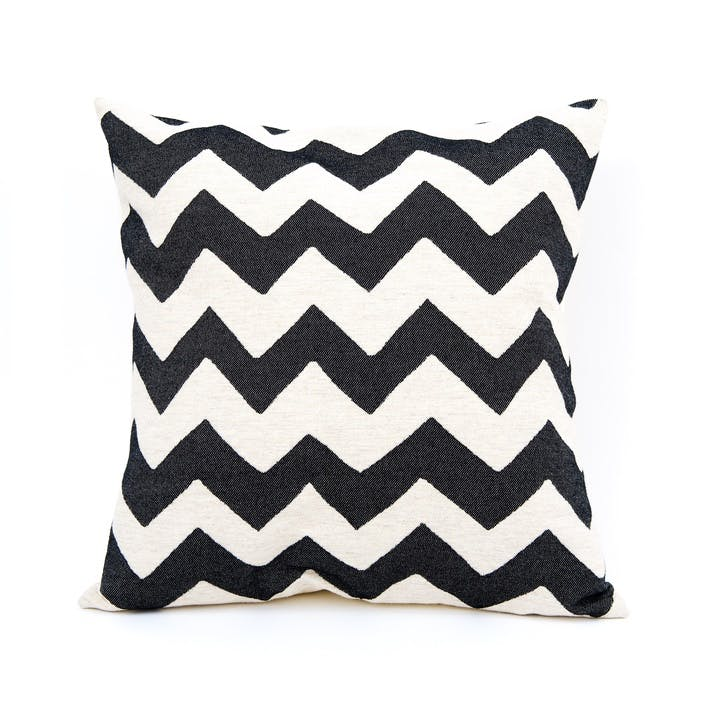Chevy Cushion - 60cm;  Black/Linen