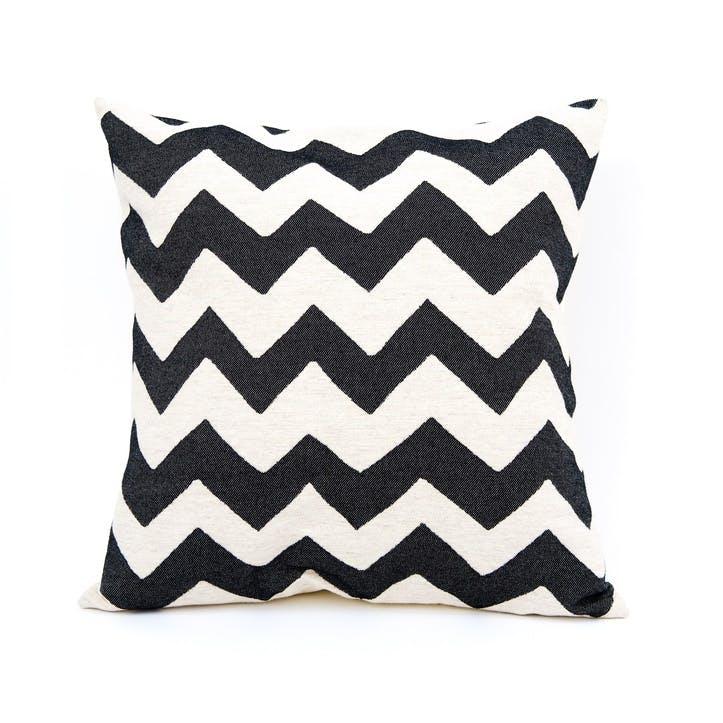 Chevy Cushion - 60cm;  Black/Linen
