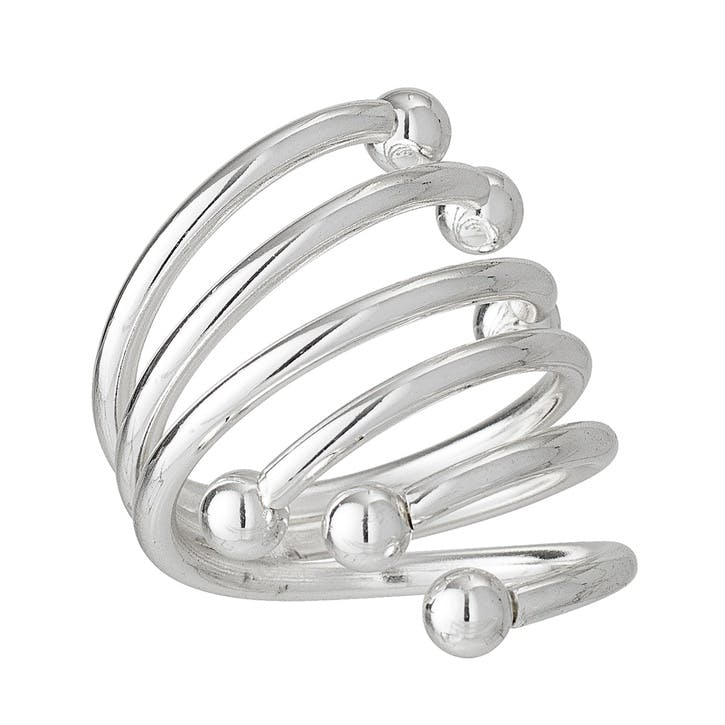 Swirl Napkin Rings, Set of 4, Silver