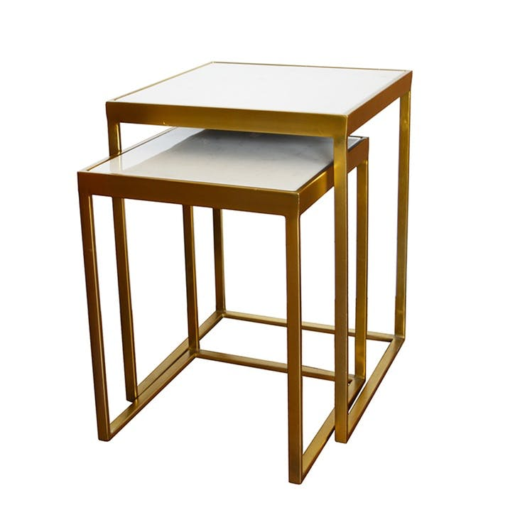 Nesting Tables, Set of 2, White Marble & Brass