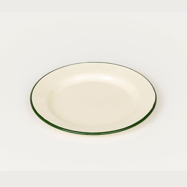 Enamel Plate, Green Trim