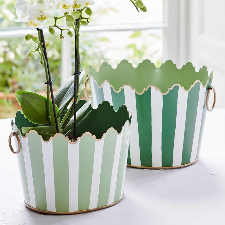 Green Cirque Striped Planters, Set of 2