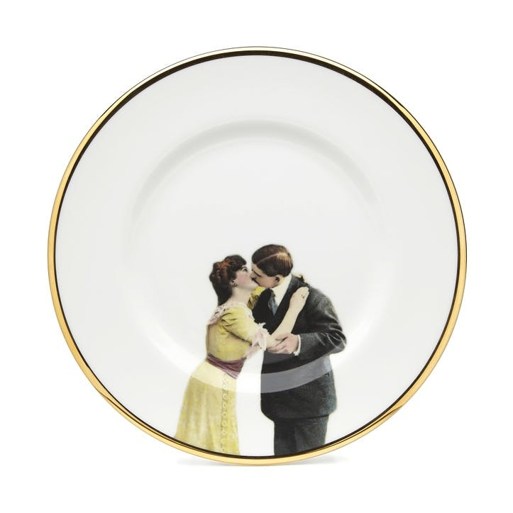 Modern Surrealist Kissing Couple Side Plate