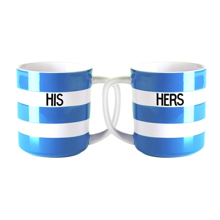 Set Of 2 'His & Hers' Mugs, 10oz/28cl, Blue