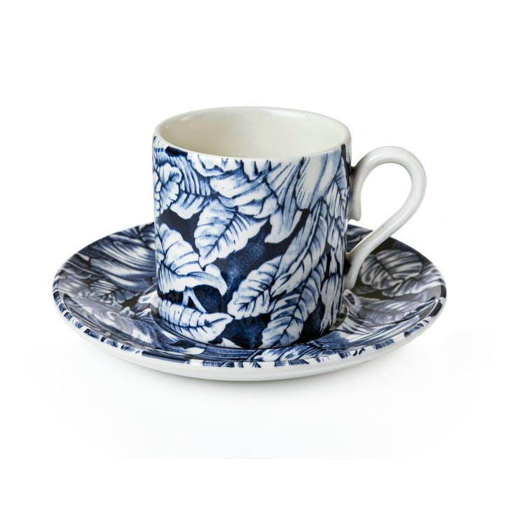 Ink Blue Hibiscus Coffee Cup and Saucer