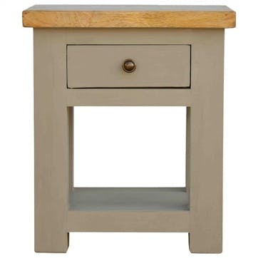 Cotswold Bedside Table, Grey/Natural