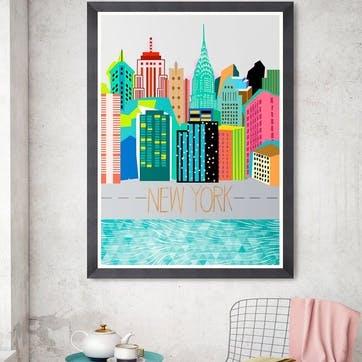 Colours of NY Black Framed Print, 70 x 100cm