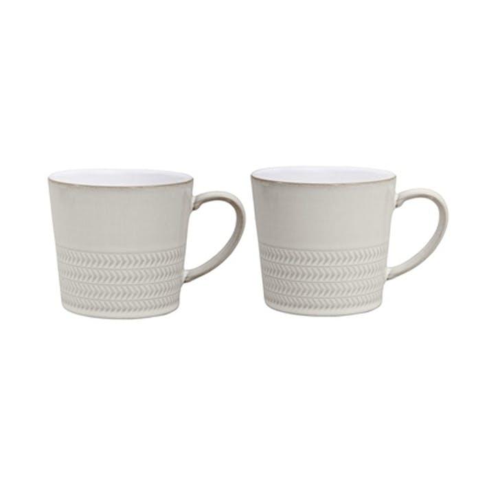 Natural Canvas Set of 2 Textured Mugs, 300ml, Cream
