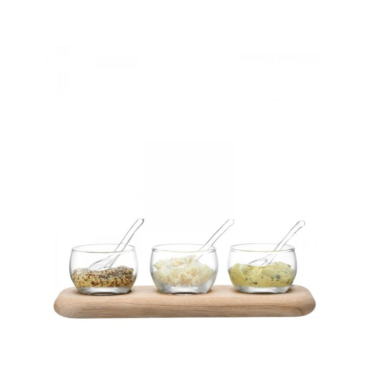 LSA Serve Condiment Set & Oak Base