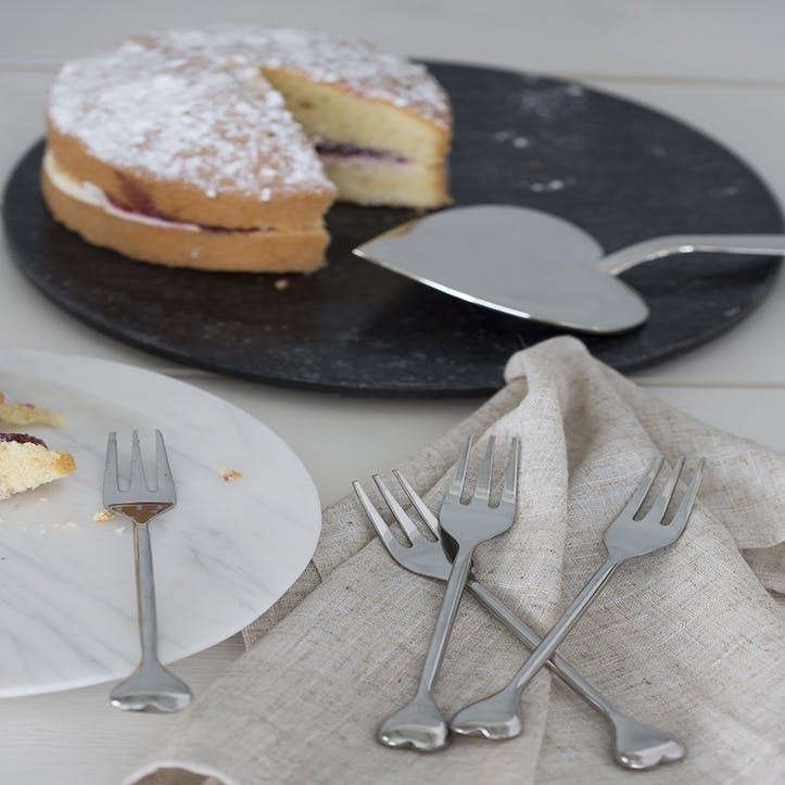 Heart Pastry Fork, Set of 4
