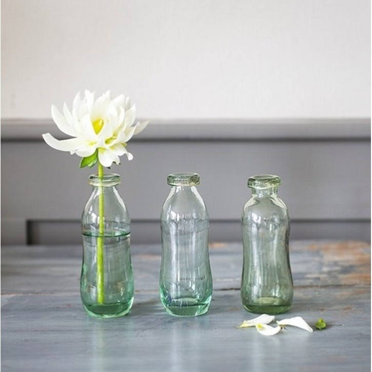 Recycled Glass Bottles, Set of 3