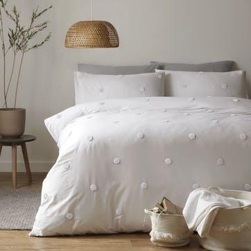 Polka Bedding Set, King, White