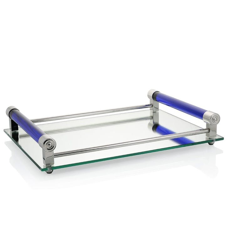 Coco Mirrored Bar Tray; Blue