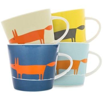 Mr Fox Mugs, Set of 4