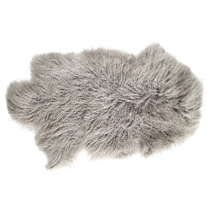 Tibetan Sheepskin Rug, Pale Grey