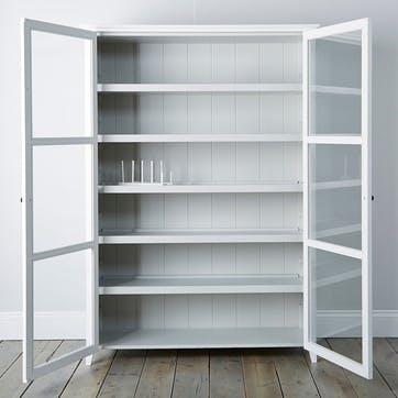 Glass Display Cabinet, White Grey