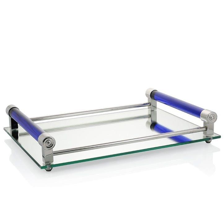 Coco Mirrored Bar Tray; Blue