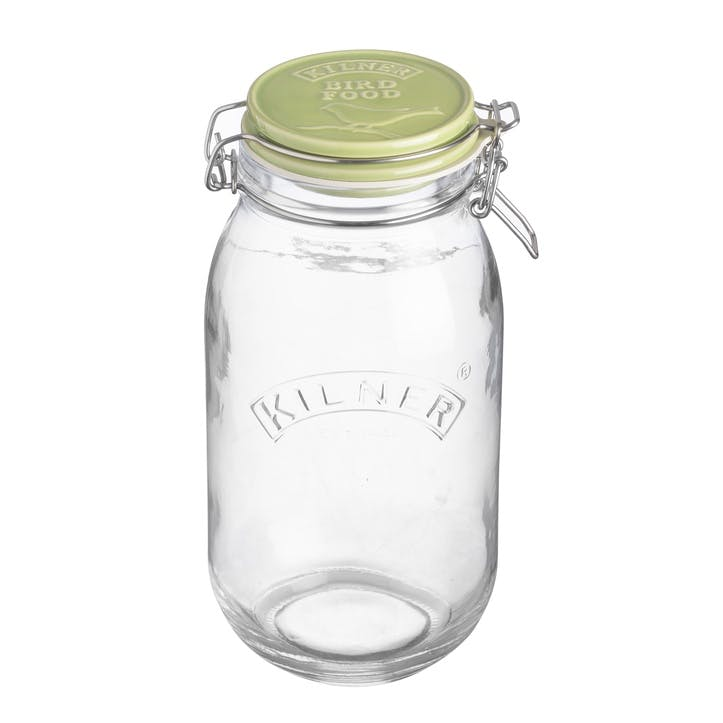 Bird Food Ceramic Round Clip Top Jar, 2 L