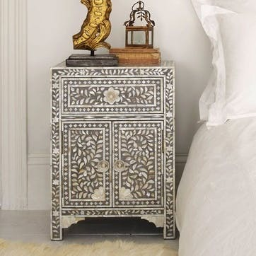 Classic Mother of Pearl Inlay Bedside Table in Grey