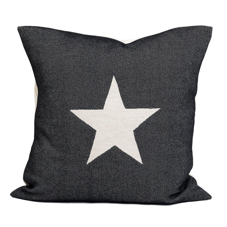 Large Antares Star Cushion -  50cm; Linen On Black,