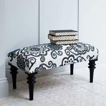 Embroidered Kashmir Flowers Upholstered Bench