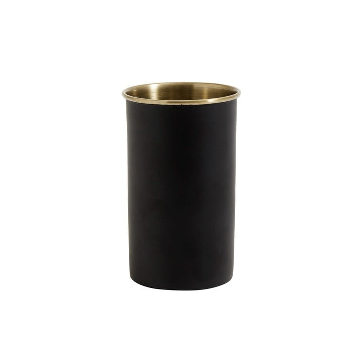 Toothbrush Holder, Black & Brass