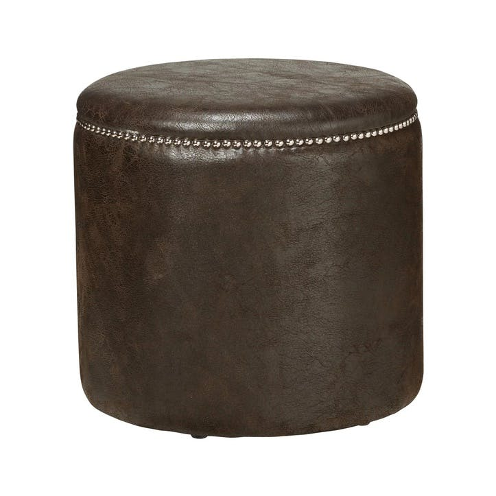 Costellini Leather Ottoman, Aged Truffle