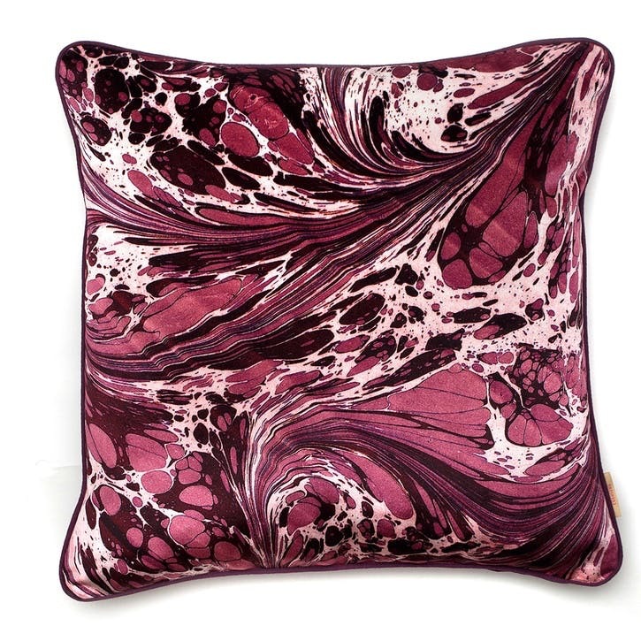 Mulberry Fanatasy Marble, Square Velvet Cushion, H49 x W49cm