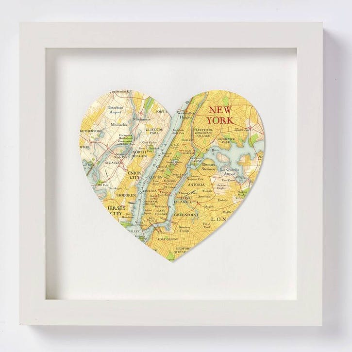 New York Framed Map Print, 28cm