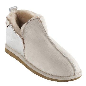 Annie Ladies Slippers - Size 6; Light Beige/ Silver