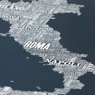 Type Map Screen Print Italy, 50cm x 70cm, Sheer Slate