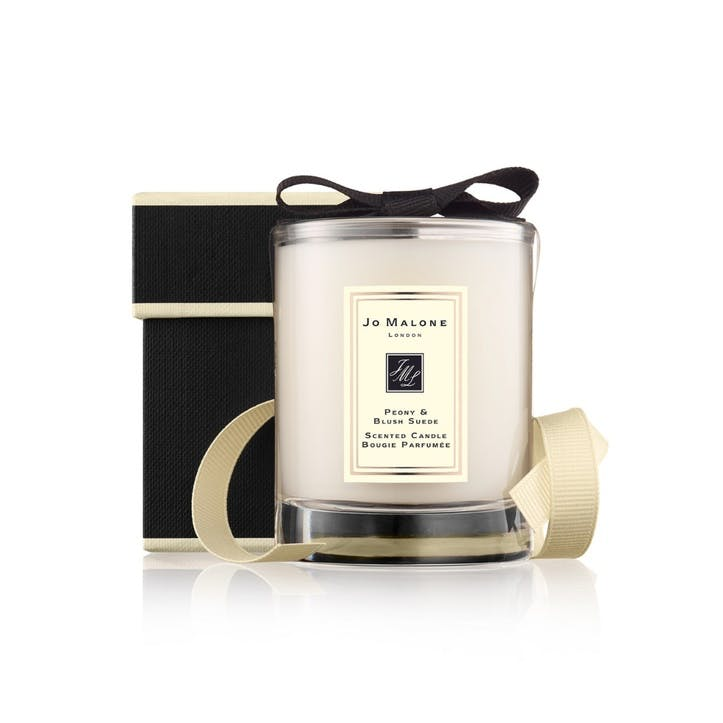 Travel Candle, Peony & Blush Suede