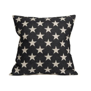 Antares Star Cushion Linen On Black, 60cm