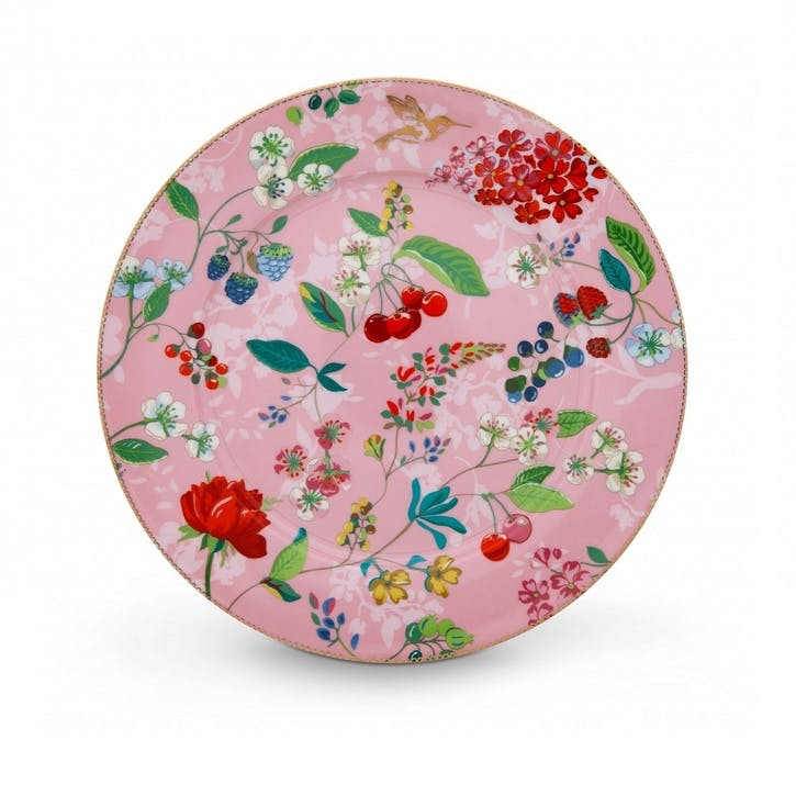 PiP Floral 2.0 Hummingbirds Large Plate, Pink