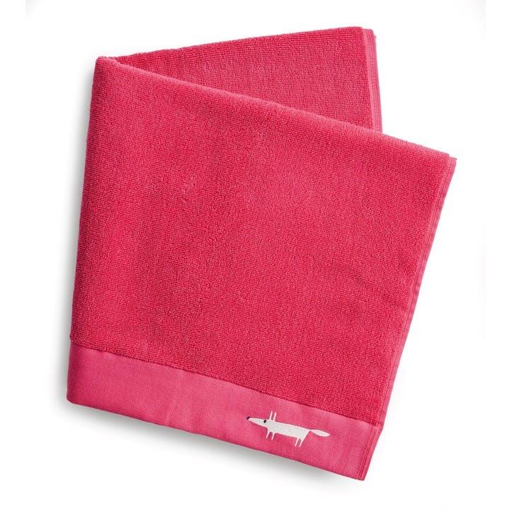 Mr Fox Embroidered Bath Towel, Crocus Pink
