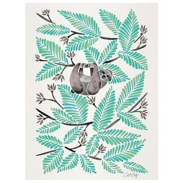 Cat Coquillette Happy Sloth Canvas Print - 30 x 40cm
