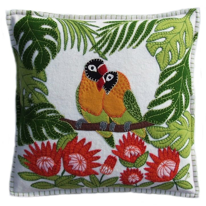Tropical Love Birds Cushion, 46 x 46cm, Cream