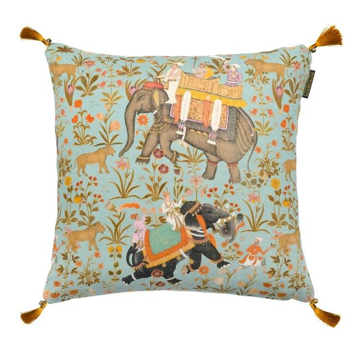 Hindustan Cushion, 50 x 50cm, Aquamarine