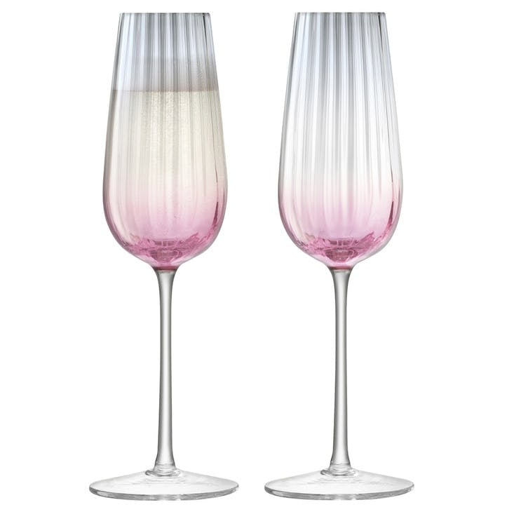 Dusk Champagne Flutes, Set of 2, Pink