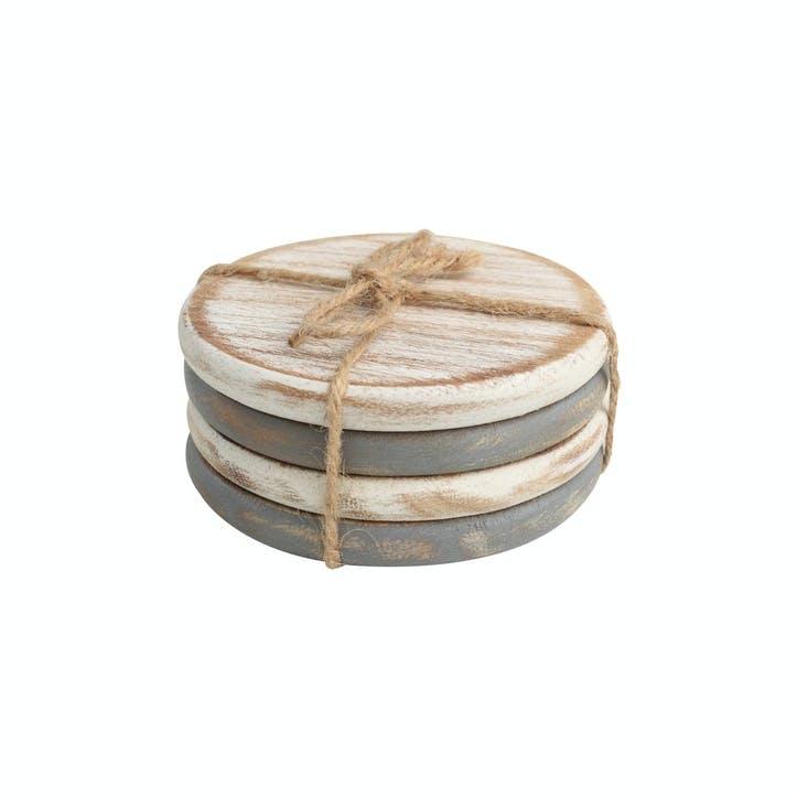 Drift Round Coasters - Set of 4; Grey & White