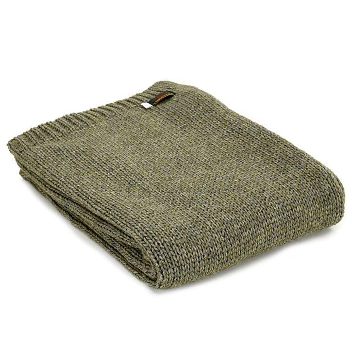 Knitted Alpaca Throw; Green