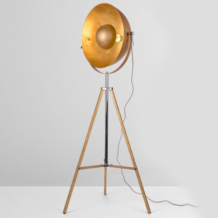 Chicago Floor Lamp; Antique Copper/ Gold