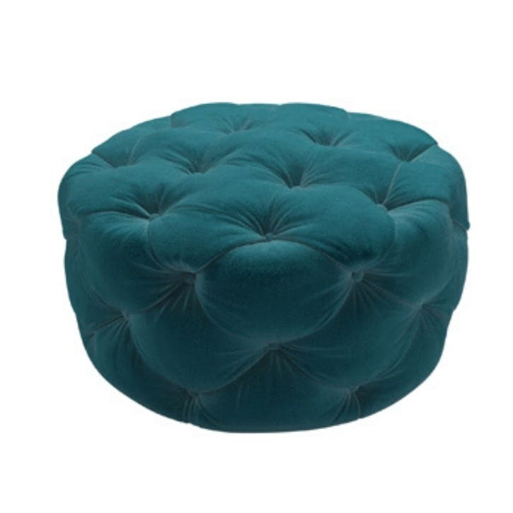 Georgette, Round Footstool, Deep Turquoise Cotton Matt Velvet