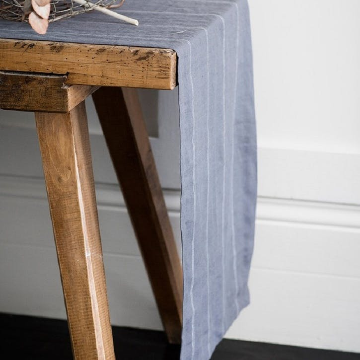 Steel Linen Table Runner, Italian Stripe