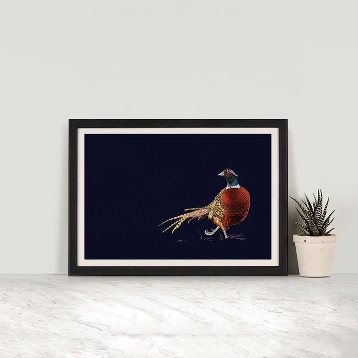 Pheasant Print - A2; Navy